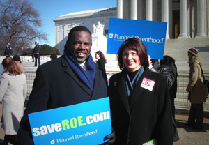 Rep. Albert Wynn and Planned Parenthood President Gloria Feldt rallying on the anniversary of Roe v. Wade (SOURCE: http://en.wikipedia.org)
