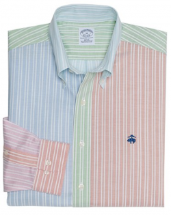 Brooks Brothers Slim Fit patchwork oxford
