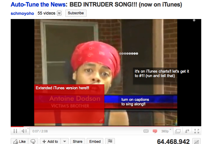 Behold: the snake crawls out of Antoine Dodson's head.