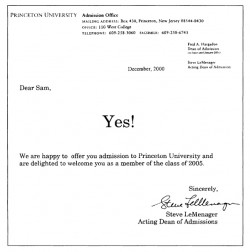 The good old days, when admissions knew even Princeton kids couldn't think straight enough in that moment to understand anything other than YES!