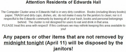 An email sent by the College Administrator of Mathey, Patricia Byrne, and forwarded to Edwards residents