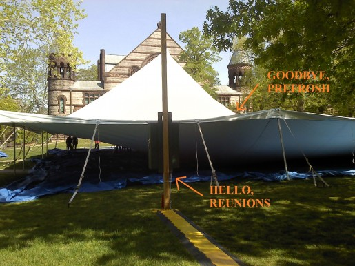 Taking down the Prefrosh Tent even the electricity posts for Reunions fences go up