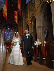 Dunne and Bracken are married in the Chapel. (Photo by Laura Pedrick of the New York Times)