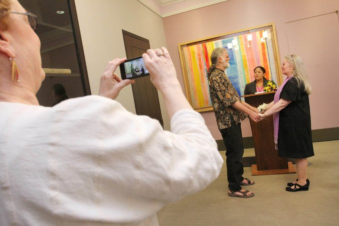 Photo of Bennett and La Plante's marriage taken by her Princeton roommate.